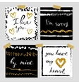 A set of hand drawn style greeting cards in black vector image