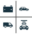 auto icons set collection of transport cleaning vector image
