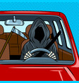 grim reaper drive car pop art vector image
