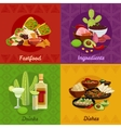 Mexican Foof 4 Flat Icons Banner vector image