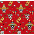 mexican skull pattern red vector image