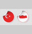 turkey sticker with flag and map label round tag vector image