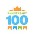 100th anniversary colored logo design happy vector image