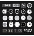Black and white different clocks collection vector image vector image
