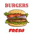Burger fast food sketch icon vector image
