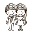 silhouette boy and girl standing with formal suit vector image