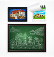 child hand drawing landscape vector image vector image