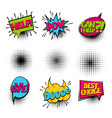 bye set colored comics book balloon vector image
