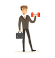 smiling businessman in a suit easily lifting a vector image