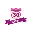 30 april calendar with ribbon vector image