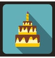 Birthday cake with candle icon flat style vector image