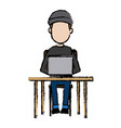 hacker character sitting work laptop technology vector image