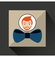 man hipster bearded wearing bow tie vector image
