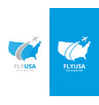 usa and plane logo combination america vector image