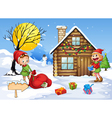elves and snow man vector image vector image