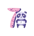 Panda Standing Next To Number Seven Stylized Funky vector image