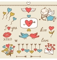 Set of Valentines cute doodles and design elements vector image vector image