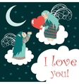Cute angels sitting on the clouds vector image