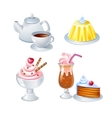 Sweet food and drinks vector image