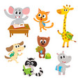 cute little animal students characters studying vector image