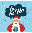 Funny Santa Claus with gift say hoho vector image