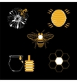 Honey icons set with beehive wax cell flying bee vector image