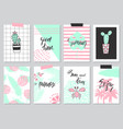 set of cute hand drawn summer cards background vector image