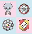 set technology elements with apps icons vector image