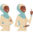 woman making gestures vector image