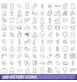 100 victory icons set outline style vector image