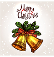 Christmas Card With Hand Drawn Golden Bells vector image