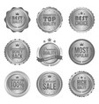 collection of modern silver circle metal badges vector image