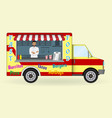 food truck with a cook inside fast-food sailing vector image