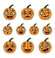 Halloween cute cartoon pumpkins icon set vector image