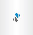 letter n rectangle logo sign vector image