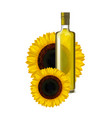 realistic detailed sunflower oil glass bottle vector image