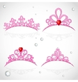 Set openwork pink tiaras with diamonds and faceted vector image