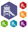 Wooden stilt house icons set vector image