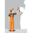 worker with spatula and plaster vector image