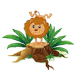 A young lion doing a handstand above a wood vector image vector image