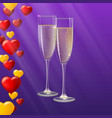champagne glasses yellow and red hearts like vector image