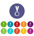 medal icons set flat vector image
