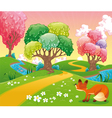 Fox in the wood vector image