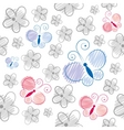 cartoon butterflies pattern vector image