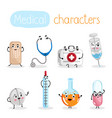 funny medicine equipment cartoon characters vector image