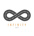 Infinity road logo Loop way symbol vector image