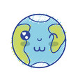kawaii cute happy earth planet vector image