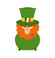 leprechaun with red beard in pot st patricks day vector image