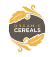 organic cereals logo wheat symbol up and down vector image