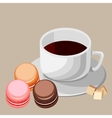 Set Multi-colored macaroons and white cup vector image